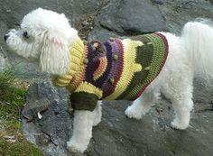 Lucky Rainbow hand crocheted alpaca pet sweater - pinned by pin4etsy.com