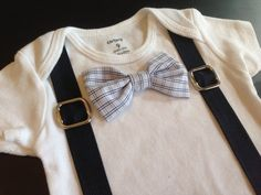 Bowtie and Suspenders Bodysuit in Classic Business Plaid on Etsy, $19.00