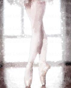 Light on her Feet:  A Ballet Watercolor Dance Fine Art Reproduction Print