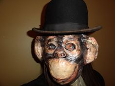 Paper mache animal head mask monkey mask costume