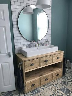 Bathroom vanity unit from reclaimed scaffold boards - LUCY Bathroom furniture . Bathroom Vanity Units, Diy Bathroom, Small Bathroom Vanities, Rustic Bathrooms, Family Bathroom, Bathroom Furniture, Bathroom Storage, Bathroom Ideas, Rustic Furniture