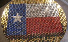Awesome table made of Bud Light, Budweiser, and Smirnoff bottle tops! Bottle Cap Projects, Bottle Cap Crafts, Bottle Cap Art, Beer Bottle, Bottle Top Tables, Beer Art, Texas Flags, Bud Light, Tattoos