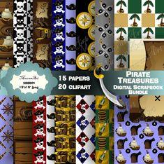 Pirate Treasures Digital Scrapbook Bundle - Digital Paper, Clip art, clipart Pirate Treasure, Digital Scrapbooking, Pirates, Clip Art, Art Clipart, Paper Clip, Halloween Crafts, Holiday Decor, Unique Jewelry