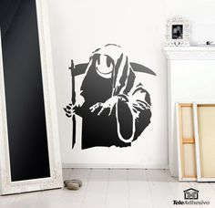 Banks Smiling Face Death Wall Sticker Sitting Room Bedroom Home Decoration Decals 60 Mural Wallpaper Removable Wall Decals, Wall Sticker, Grin Reaper, Grim Reaper Tattoo, Smile Face, Graphic, Halloween, Images, Stickers