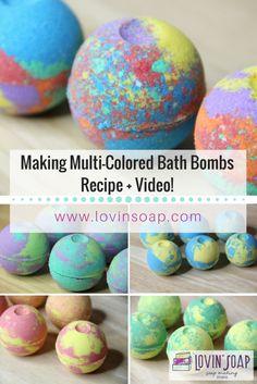 Multi Colored Bath Bombs Recipe and Video Tutorial