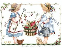 graphics for scrapbooking. Holly Hobbie, Pretty Pictures, Art Pictures, Evans Art, Pintura Country, Sarah Kay, Country Paintings, Decoupage Paper, Vintage Children
