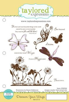 Taylored Expressions - Discover Your Wings Set Card Companies, Discover Yourself, Card Making, Wings, Artsy, Product Launch, Paper Crafts, Place Card Holders, Stamp