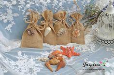 Bespoke 25 x Burlap Favor Bags Nautical Beach Theme Wedding Supplies Shells