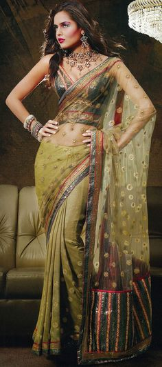 Light Olive Green Wedding and Festival Embroidered Saree