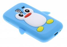 Turquoise pinguin siliconen hoesje voor Samsung Galaxy Ace 2