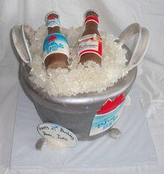 Beer Ice Bucket Fondant Cake with Rock Candy Ice, Edible Beer Bottles