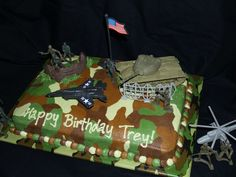 Army Cake - I got this idea from another picture I saw on here. It was easy to make and I loved how the colors blended together with the Viva PT trick. Camo Birthday Cakes, Army Birthday Parties, Army's Birthday, Birthday Ideas, Birthday Snacks, Happy Birthday, Army Cake, Military Cake, Military Party