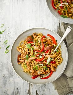 Stir-fry strips of chicken and red peppers in a wok with ginger, chilli and honey for a comforting midweek meal for two