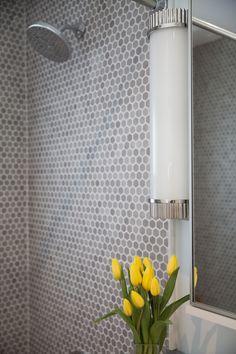 Bathroom | Hexagon UpTown Glass Mosaic Tile in Matte Frost Moka | DALTILE