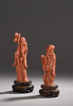 Deux statuettes en corail I Chine I Daguerre I Vendu 1 400 euros marteau le 20 juin 2017