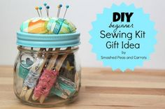 Smashed Peas and Carrots: DIY Beginner Sewing Kit Gift Idea-TUTORIAL. Cute idea for a newly independent person or newly wed! Diy Gifts In A Jar, Easy Diy Gifts, Diy Craft Kit Gifts, Mason Jars, Mason Jar Gifts, Christmas Jars, Diy Christmas Gifts, Christmas Child, Homemade Christmas