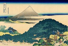"""""""Cushion Pine at Aoyama"""" (青山円座松); The coast of seven leages in Kamakura - """"Thirty-six Views of Mount Fuji"""" by Hokusai"""