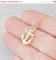 Easter Sale Anchor Necklace  10k Yellow by TheJewelryGirlsPlace