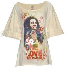 DYING TO HAVE!!   Bob Marley One Love Cream Scoop Neck Top - Women's