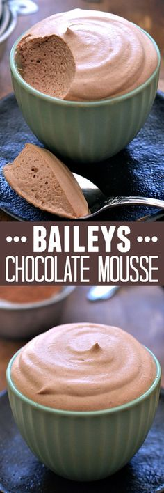 Deliciously light, fluffy chocolate mousse infused with the sweet flavor of Bail. Deliciously light, fluffy chocolate mousse infused with the sweet flavor of Bailey& Irish Cream. Perfect for the holidays! Easy Desserts, Delicious Desserts, Dessert Recipes, Yummy Food, Baking Recipes, Drink Recipes, Filipino Desserts, French Desserts, Gourmet Desserts