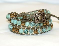 african turquoise and bronze czech beads on leather