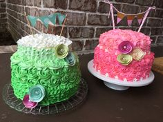 Shabby chic cakes for birthdays or showers.