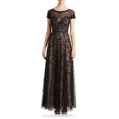 Basix Black Label Sheer Lace Embellished Gown ($990) ❤ liked on Polyvore featuring dresses, gowns, apparel & accessories, sheer lace gown, sequin gown, brown dress, sequin dress and beaded gown