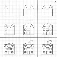 Learn how to draw #houses. This and much more in the #superrandomthingstodraw! Available at ankepankesshop.nl