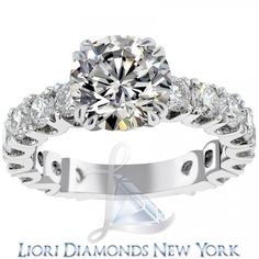 5.55 Carat F-VS2 Certified Natural Round Diamond Engagement Ring 14K White Gold