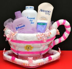 Diaper Cake with Tea Cup | Diaper Tea Cup. Great Baby Shower Gift