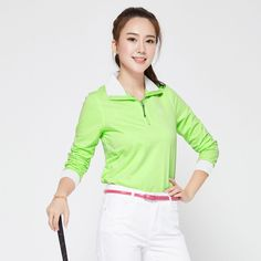 2016 New Women's Golf Shirts Apparel Autumn Long Sleeve LadiesPolo Top Shirt Coat Comfortable Soft Green