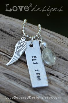 Fly free metal stamped necklace, long word necklace, charm necklace, Love Squared Designs