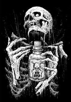 Art by Mark Riddick Arte Horror, Horror Art, Art And Illustration, Art Sketches, Art Drawings, Arte Punk, Les Aliens, Satanic Art, Skull Artwork