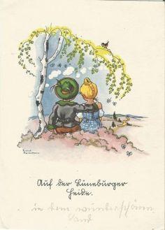 Liebes-Paerchen-auf-der-Lueneburger-Heide-Kuenstlerkarte-von-Liesel-Lauterborn