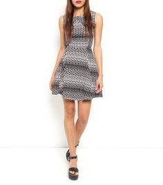 £24.00 New Look Mandi Monochrome Geo Print Skater Dress