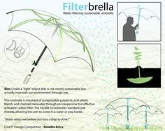 Umbrella (Concept) that collects the rain water, filters it and collects it in a bottle/handle by Andrew Leinonen