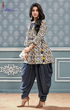 White Cotton Kurti with Midnight Blue Dhoti Salwar Kurta Designs Women, Kurti Neck Designs, Dress Neck Designs, Salwar Designs, Blouse Designs, Pakistani Dress Design, Pakistani Dresses, Indian Dresses, Indian Outfits