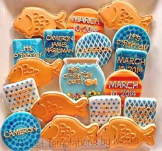 """Adoption Decorated Sugar Cookies. """"He's O-fish-ally Ours!"""" www.facebook.com/sweettemptationsbynicole"""