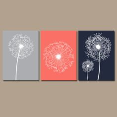 DANDELION Wall Art Coral Navy Gray Bedroom Wall Art by TRMdesign