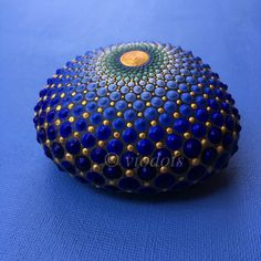 Mandala stone, blue, hand painted, viodots