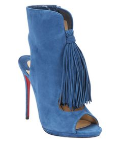 Christian Louboutin Blue Suede 'otoka 120' Side-Zip Ankle Booties