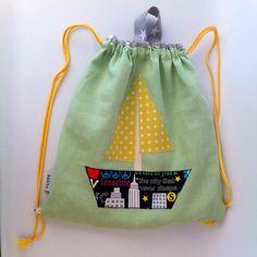 Drawstring kid bag, Play pouch school kindergarten bag, library Bag, cheerful school bag