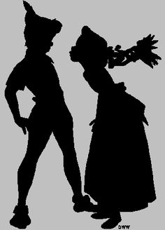 Peter pan silhouette - wendy, peter and tinkerbell