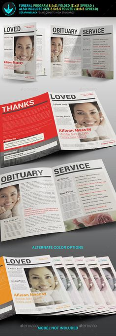 Newspaper Funeral Program Template 3 by SeraphimBlack Newspaper Funeral ProgramTemplate 3 Thisis Funeral Program Template with a clean and modern style. Youll find thisnewspaper theme