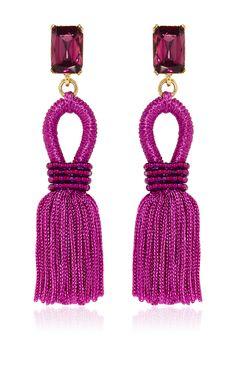 Short Silk Loop Tassel Magenta Earrings by Oscar de la Renta ~ETS #oscardelarenta #tassels