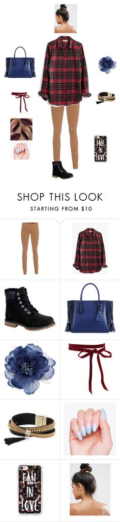 """""""K D M D D"""" by queen-kaitlyn ❤ liked on Polyvore featuring AG Adriano Goldschmied, Madewell, Timberland, Longchamp, Accessorize, Simons, Casetify and Kitsch"""