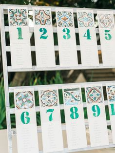 Bohemian tile inspired escort cards: http://www.stylemepretty.com/little-black-book-blog/2015/11/19/whimsical-destination-wedding-in-portugal/ | Photography: Love is my Favorite Color - http://loveismyfavoritecolor.com/