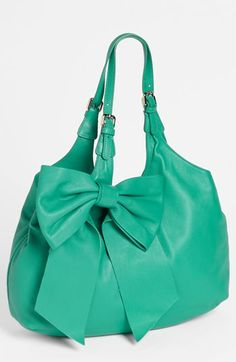 RED Valentino 'Bow' Leather Hobo available at my dreams! Bow Purse, Bow Bag, Purse Wallet, Clutch Bag, Tote Handbags, Purses And Handbags, Valentino, Cute Purses, Cute Bags