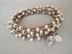 Boho Silver crochet wrap bracelet necklace The by slashKnots, $42.00