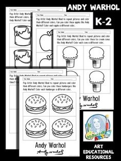 These FREE Andy Warhol Coloring sheets are great to use with my Andy Warhol for Elementary Lesson!My Andy Warhol for Elementary Lesson includes a colorful PowerPoint with images byAndy Warhol. The scripted Andy Warhol PowerPoint is designed to be easily understood by your younger artist.After learning about Andy Warhol, your K-2 students will create a digital self- portrait in the style of Andy Warhol.
